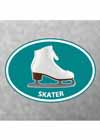 "Decal White Skate Aqua Oval With ""Skater"" Underneath 4""x5"""