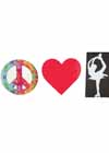"Decal Peace Sign, Heart, Bielman Pose White #10 Decal 8""x3"""