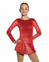 Mondor Red Born to Skate Glitter Velvet Dress Child 8-10
