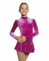 Mondor Velvet Long Sleeve Skater Rhinestone Applique Child 8-10