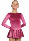 Mondor Rasberry Long Sleeve Glitter Velvet Dress Child S