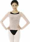 817 Body Pop Sheer Top Long Sleeve Polka Dot Pattern Shirt
