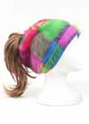 Custom Fleece Drawstring Ponytail Hat Patchwork