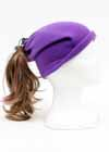 Custom Fleece Drawstring Ponytail Hat Purple